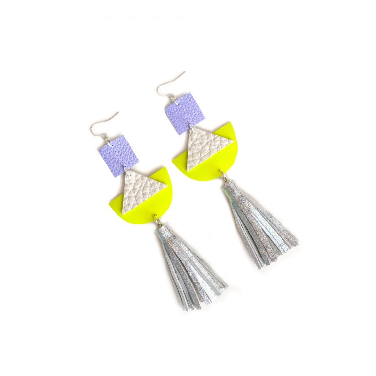 Geometric_Earrings__Neon_Yellow_Leather_Earrings__Holographic_Silver_Leather_Tassel_Earrings__Hologram_Jewelry_5