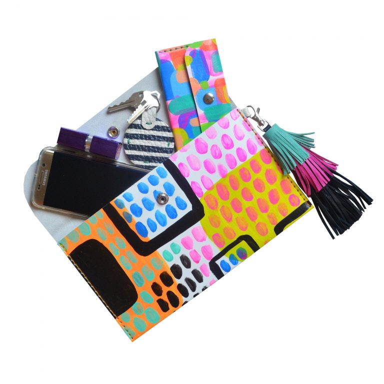 Leather_Clutch__Neon_Leather_Tassel_Bag__Abstract_Art_Clutch__Envelope_Clutch_Bag__Leather_Purse_4