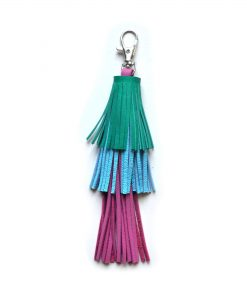 Leather_Tassel_Key_Chain__Green__Pink_and_Blue_Tassel__Bag_Charm
