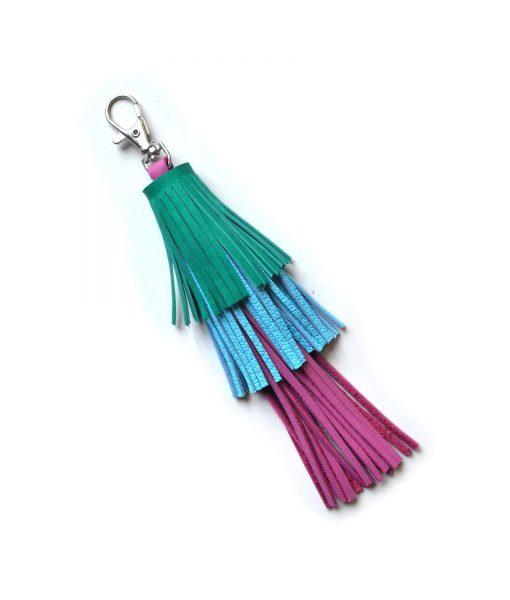 Leather_Tassel_Key_Chain__Green__Pink_and_Blue_Tassel__Bag_Charm_2
