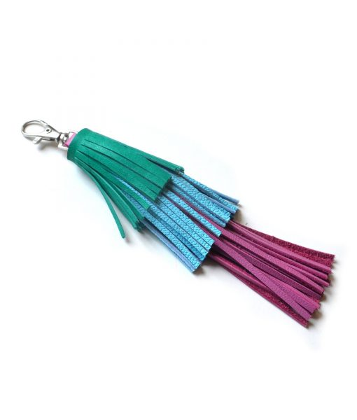 Leather_Tassel_Key_Chain__Green__Pink_and_Blue_Tassel__Bag_Charm_3