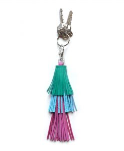 Leather_Tassel_Key_Chain__Green__Pink_and_Blue_Tassel__Bag_Charm_4