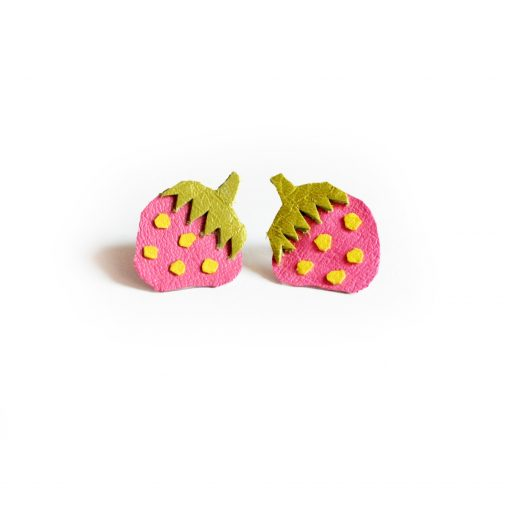 Strawberry_Leather_Post_Stud_Earrings__Pink_Polka_Dot_Fruit__Minianture_Food_Jewelry