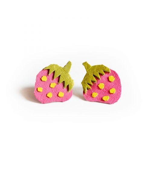 Strawberry_Leather_Post_Stud_Earrings__Pink_Polka_Dot_Fruit__Minianture_Food_Jewelry