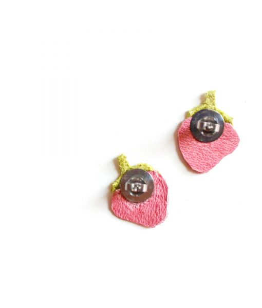 Strawberry_Leather_Post_Stud_Earrings__Pink_Polka_Dot_Fruit__Minianture_Food_Jewelry_3