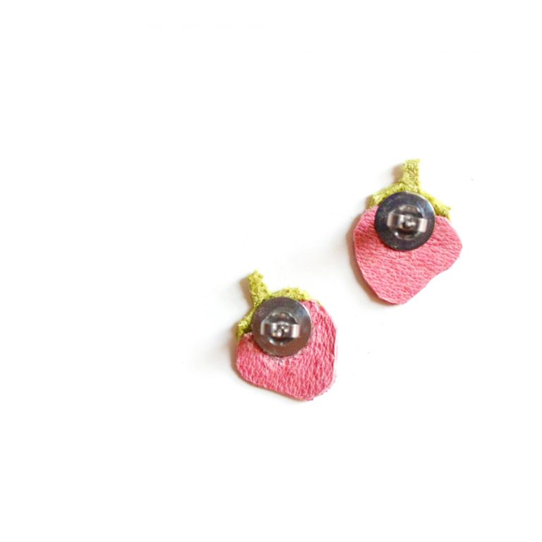 Strawberry_Leather_Post_Stud_Earrings__Pink_Polka_Dot_Fruit__Minianture_Food_Jewelry_3