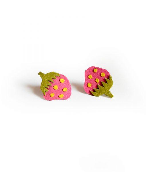 Strawberry_Leather_Post_Stud_Earrings__Pink_Polka_Dot_Fruit__Minianture_Food_Jewelry_4