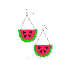 Watermelon_Earrings__Hot_Pink_Earrings__Fruit_Earrings__Pop_Art_Earrings__Leather_Earrings_2
