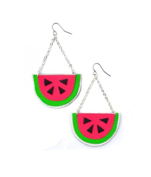 Watermelon_Earrings__Hot_Pink_Earrings__Fruit_Earrings__Pop_Art_Earrings__Leather_Earrings_2