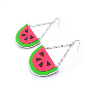 Watermelon_Earrings__Hot_Pink_Earrings__Fruit_Earrings__Pop_Art_Earrings__Leather_Earrings_4