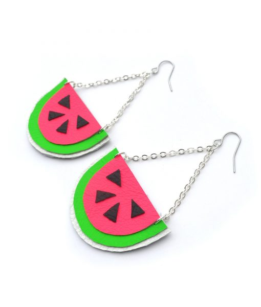 Watermelon_Earrings__Hot_Pink_Earrings__Fruit_Earrings__Pop_Art_Earrings__Leather_Earrings_4