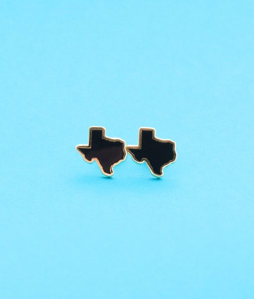 black and 22k gold texas stud earrings pop shop america