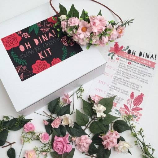blush paper flowers diy flower crown kit