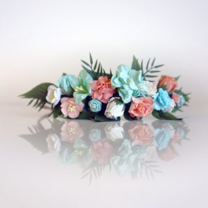 diy flower crown kit peach mint white paper flowers