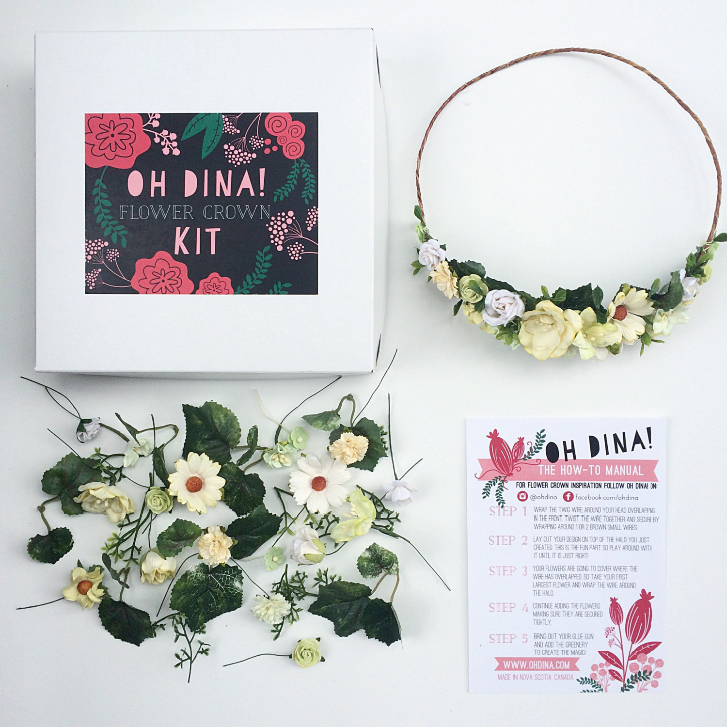 diy flower crown kit with yellow flowers