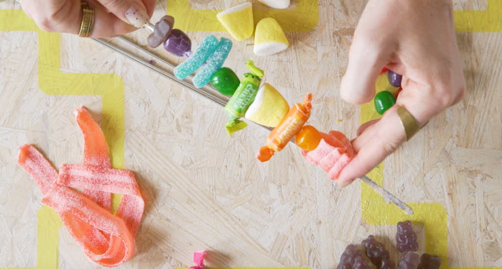 finished rainbow candy skewer - diy pop shop america