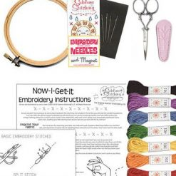 inside the petite embroidery kit diy supplies