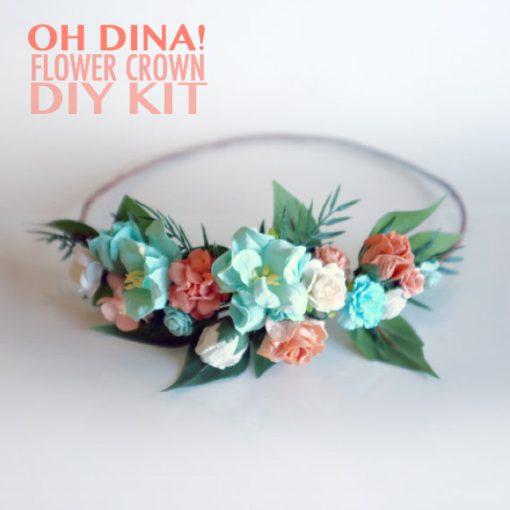 peach and mint diy flower crown kit pop shop america