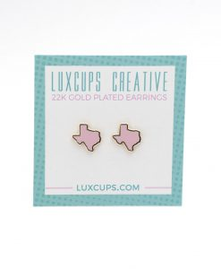 pink enamel texas stud earrings handmade pop shop america