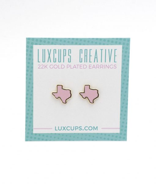 pink enamel texas stud earrings handmade pop shop america