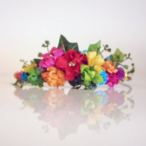rainbow flowers in diy flower crown kit