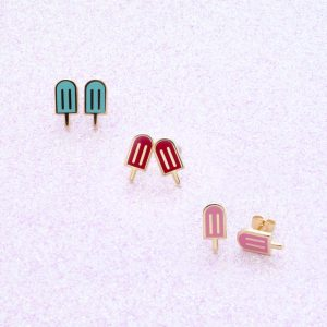 rainbow popsicle enamel 22k gold stud earrings