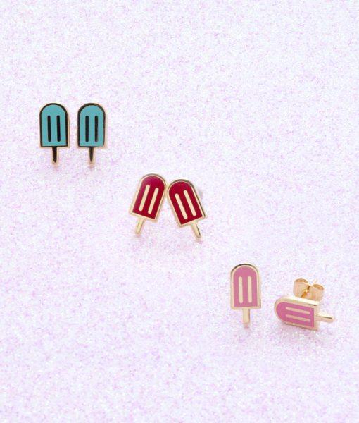 rainbow popsicle enamel 22k gold stud earrings
