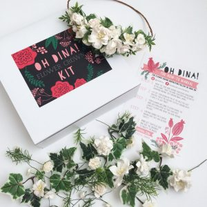 white flowers diy flower crown kit pop shop america