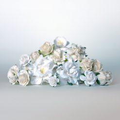 white flowers supplies for diy flower crown kit