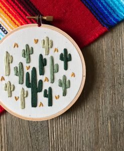 cactus desert embroidery art handmade art shopping