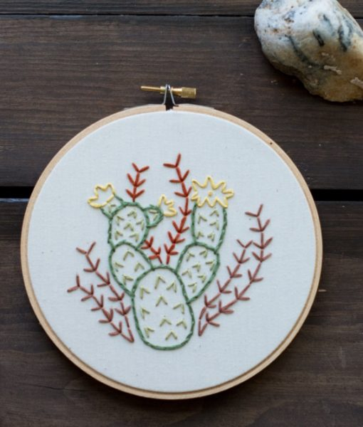 desert cactus art - prickly pear embroidery thread hoop