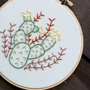 desert cactus prickly pear embroidery art made in austin tx