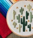 detail of cactus art handmade by mountains of thread pop shop america