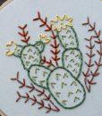 detail of prickly pear art – embroidery art hoop