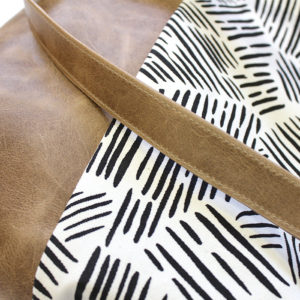 detail of zana leather purse – large leather tote