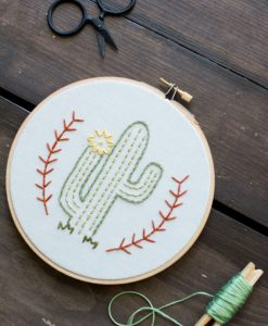 flowering cactus embroidery hoop art pop shop america