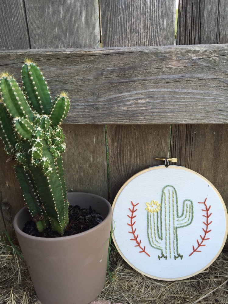 flowering cactus embroidery hoop by mountains of thread handmade in austin tx