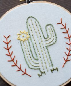 flowering desert cactus art – embroidery hoop art