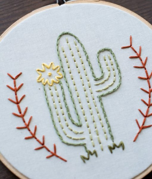 flowering desert cactus art - embroidery hoop art