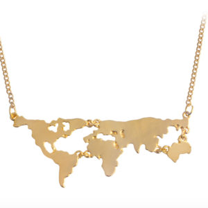 World map necklace in gold silver gold globe necklace world jewelry pop shop america gumiabroncs Image collections