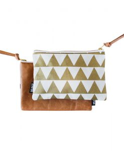 gold triangle canvas leather clutch
