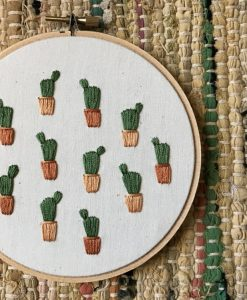 green and brown potted cactus art handmade embroidery art
