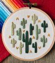 light and dark green cactus art - embroidery hoop art