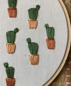 potted prickly pear cactus detail – embroidery art
