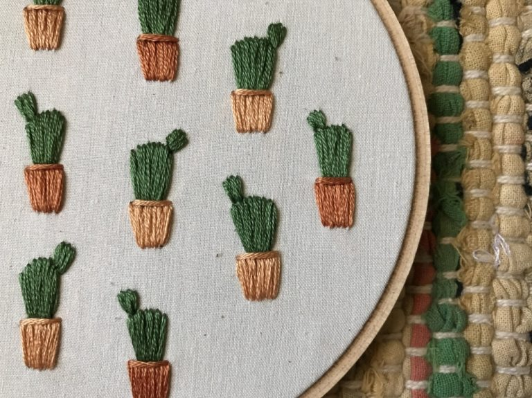 potted prickly pear cactus detail - embroidery art