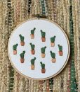 potted prickly pear embroidery art by mountains of thread austin tx