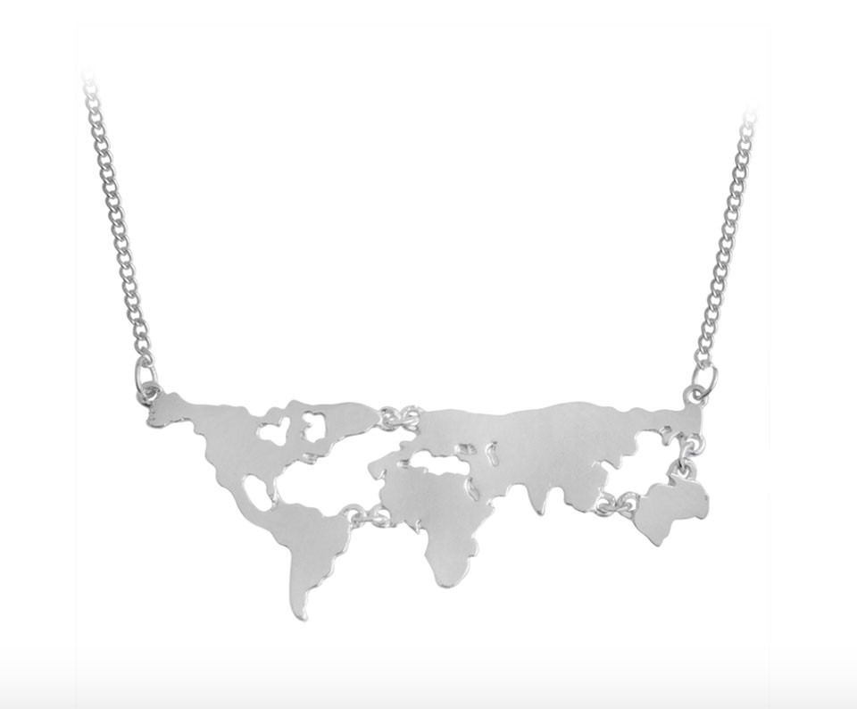 World map necklace in gold silver silver globe necklace world jewelry pop shop america gumiabroncs Choice Image