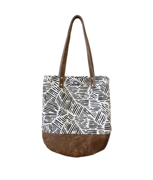 striped canvas and leather shoulder bag