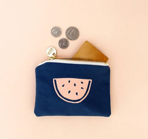 watermelon coin purse - canvas pouch handmade accessories at pop shop america