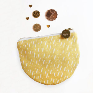 yellow specks coin purse leather and canvas accessories